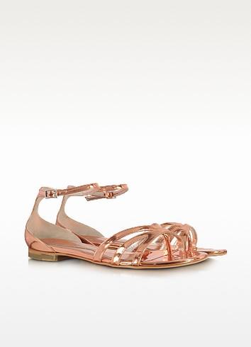 Metallic Blush Leather Flat Sandals - McQ Alexander McQueen
