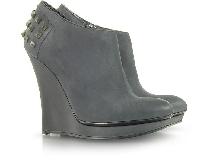 Rusty Slim Wedge Leather Bootie - Alexander McQueen