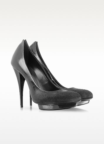 Black Patent Leather and Brushed Suede Platform Pump - McQ Alexander McQueen