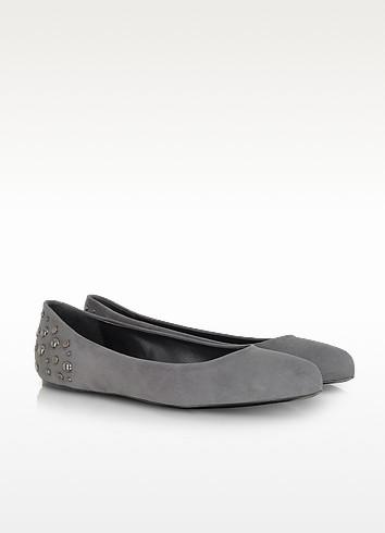Gray Suede Ballerina Shoe - McQ Alexander McQueen