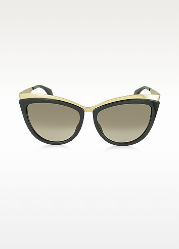 AMQ 4251/S Metal Brow Cat Eye Women's Sunglasses - Alexander McQueen