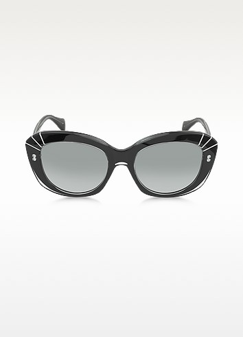 AMQ4214/S Black Acetate Cat-Eye Sunglasses - Alexander McQueen