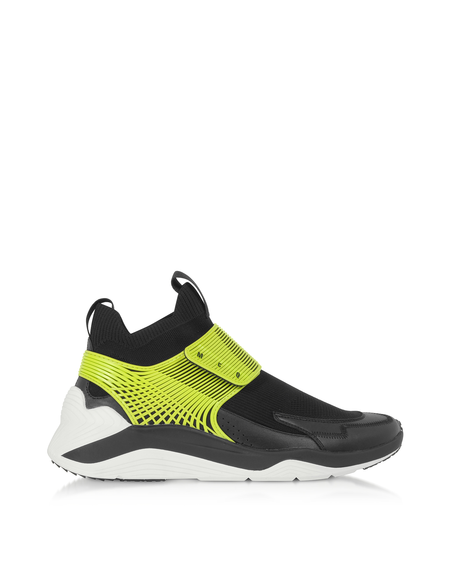 McQ Alexander McQueen Designer Shoes, Hikaru 3.0 Black Lime Calf Leather and Fabric Men's Sneakers