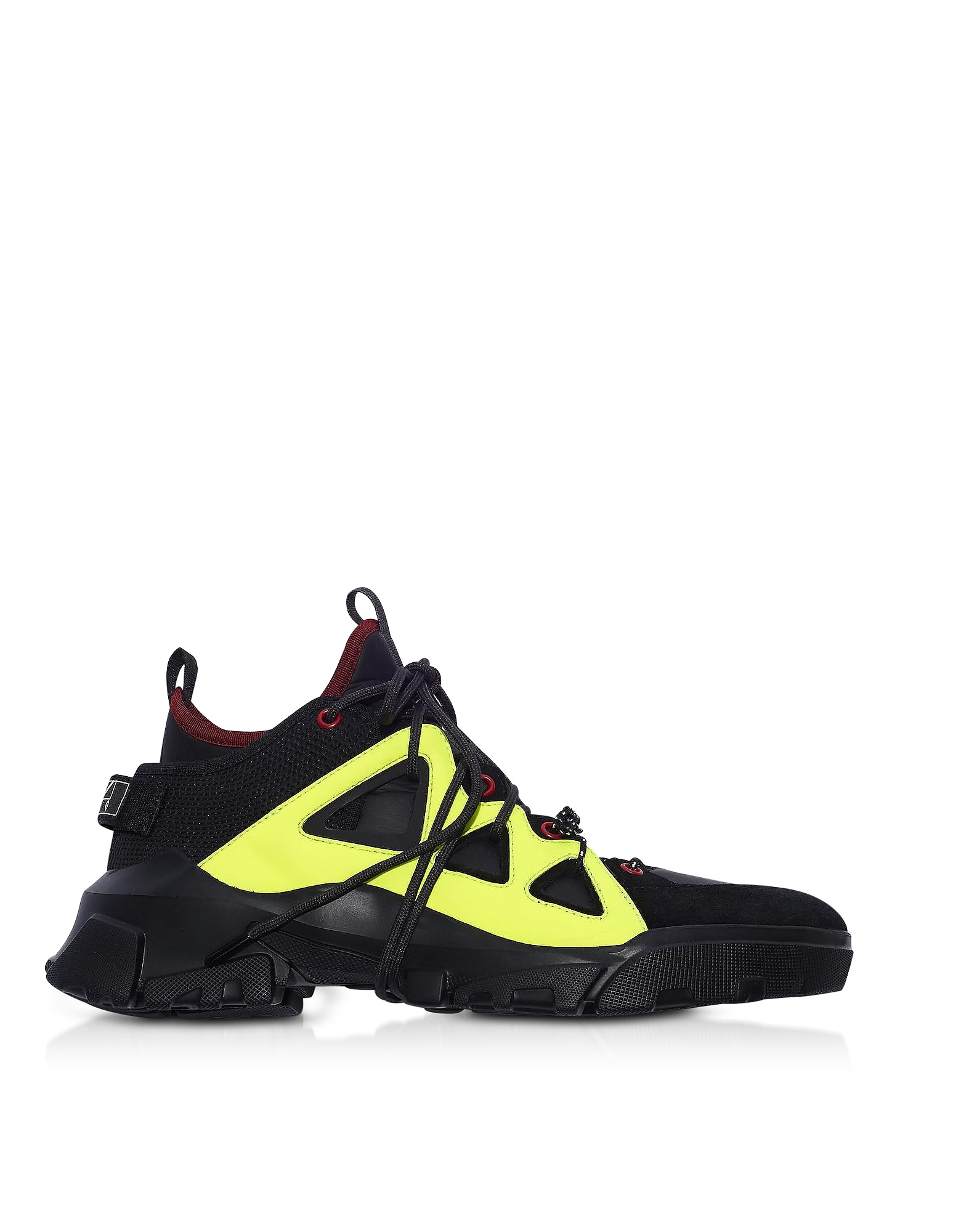 Orbyt Mid Black Calf Leather and Fabric Men's Sneakers