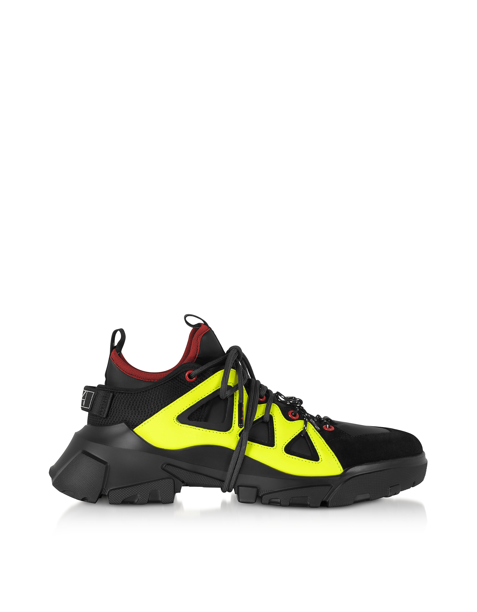 McQ Alexander McQueen Designer Shoes, Orbyt Mid Black Calf Leather and Fabric Men's Sneakers