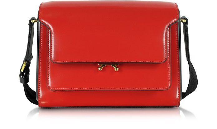Metal Trunk Hot Red Patent Leather Shoulder Bag - Marni