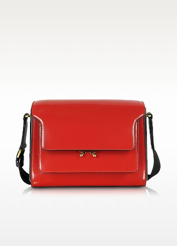 Metal Trunk Hot Red Patent Leather Shoulder Bag - Marni