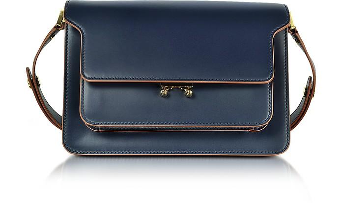 Navy Blue Leather Medium Trunk Bag - Marni