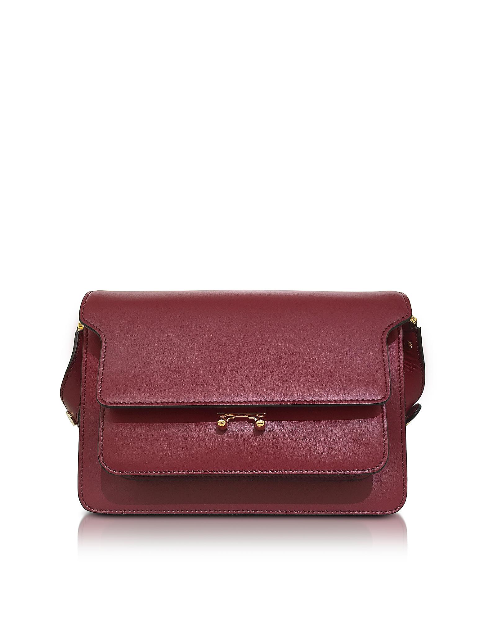 Marni Trunk Bag - Темно-вишневая Кожаная Сумка