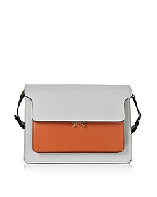 Pelican Gray, Chili Red and Black Leather Large Trunk Bag - Marni