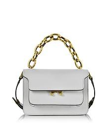 Pelican Gray Leather Mini Trunk Bag w/Chain - Marni
