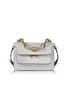 Pelican Gray Leather Mini Trunk Bag w/Chain - Marni
