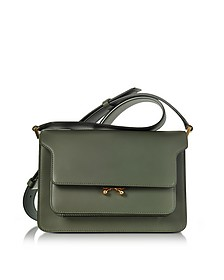 Thyme Green and Lily White Leather Medium Trunk Bag - Marni