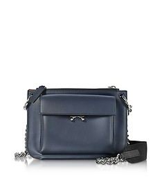 Blue China and Hot Red Leather Pocket Bandoleer Bag  - Marni