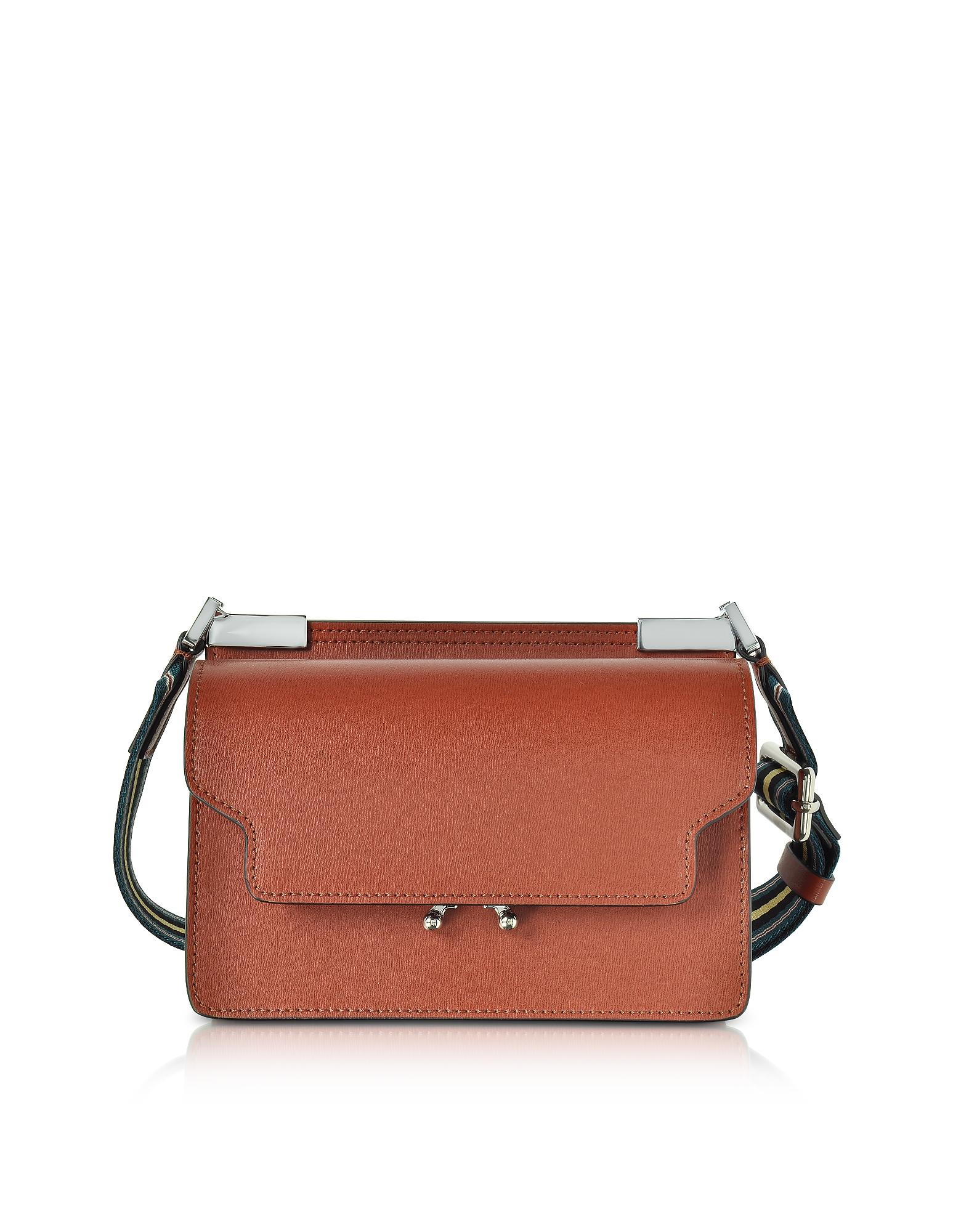Marni Handbags, Brick Leather Trunk Bag w/Canvas Shoulder Strap