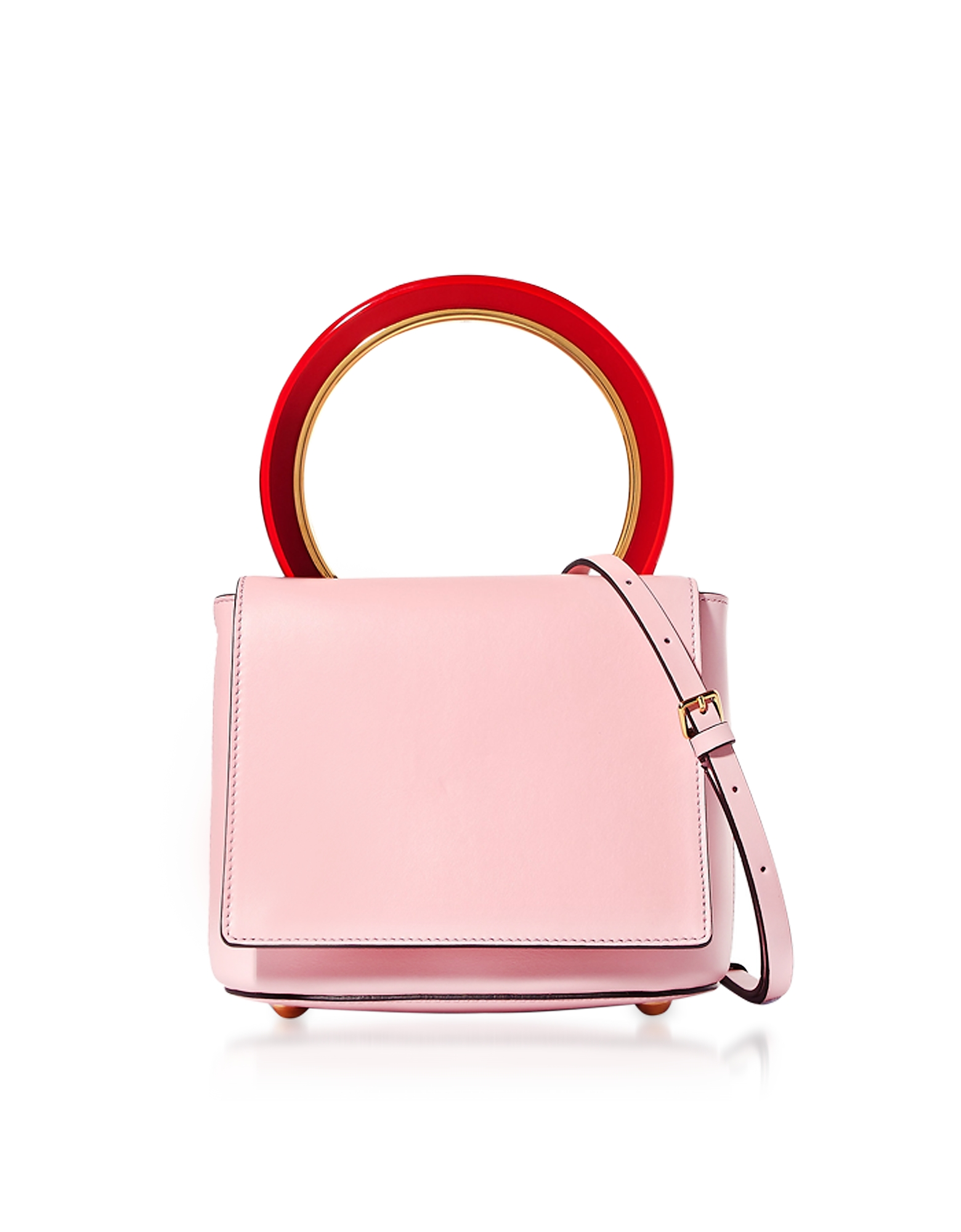 Marni Handbags, Cinder Rose Leather Pannier Bag