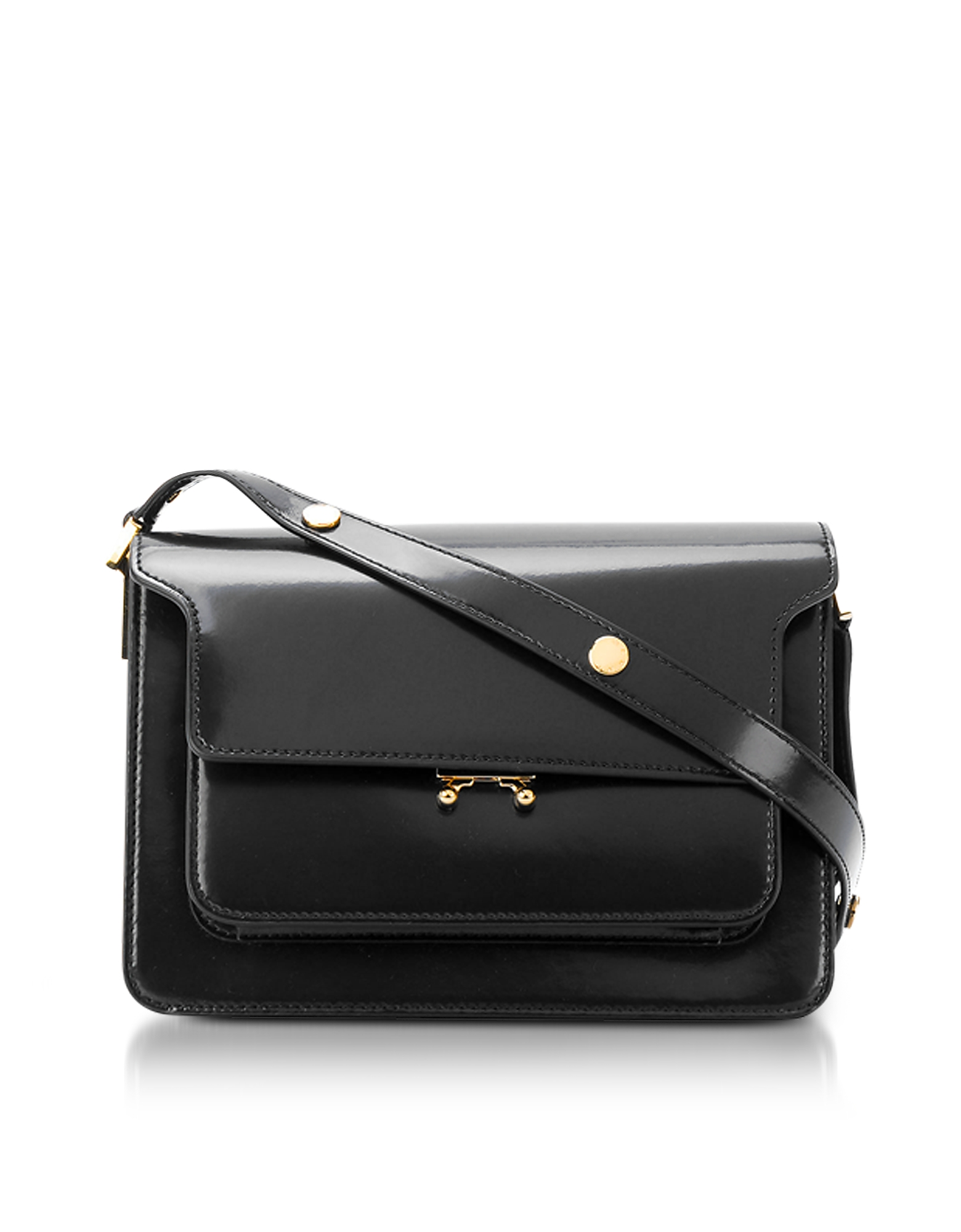 Black Patent Leather Trunk Bag