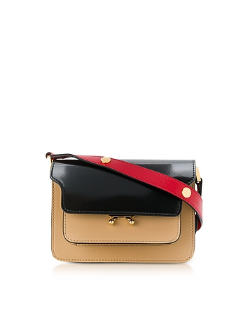 Black Dune and Tulip Red Patent Leather Mini Trunk Bag