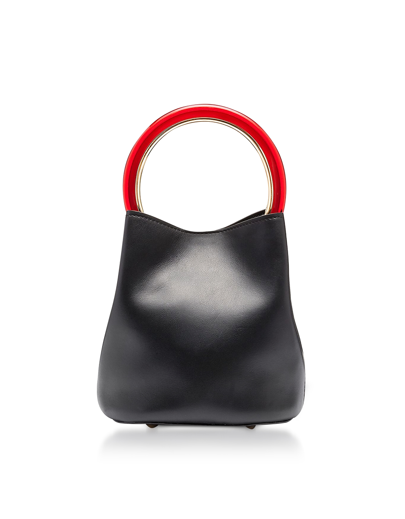 Marni Handbags, Black Leather Pannier Bucket Bag