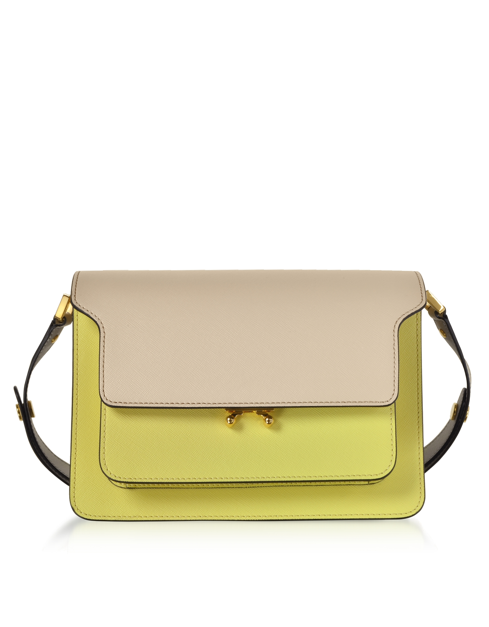Marni Handbags, Color Block Saffiano Leather Trunk Bag