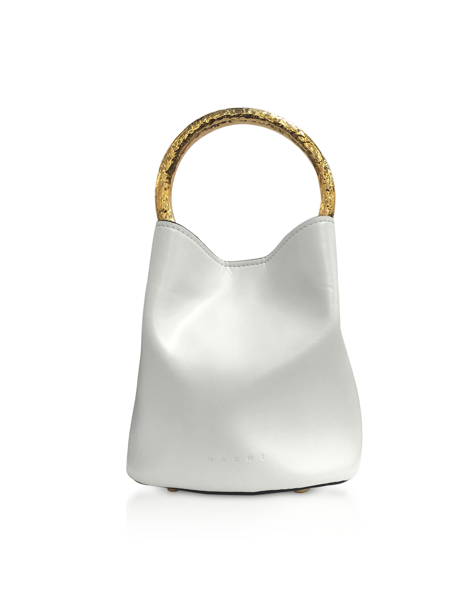 Pannier Leather Bucket Bag in White