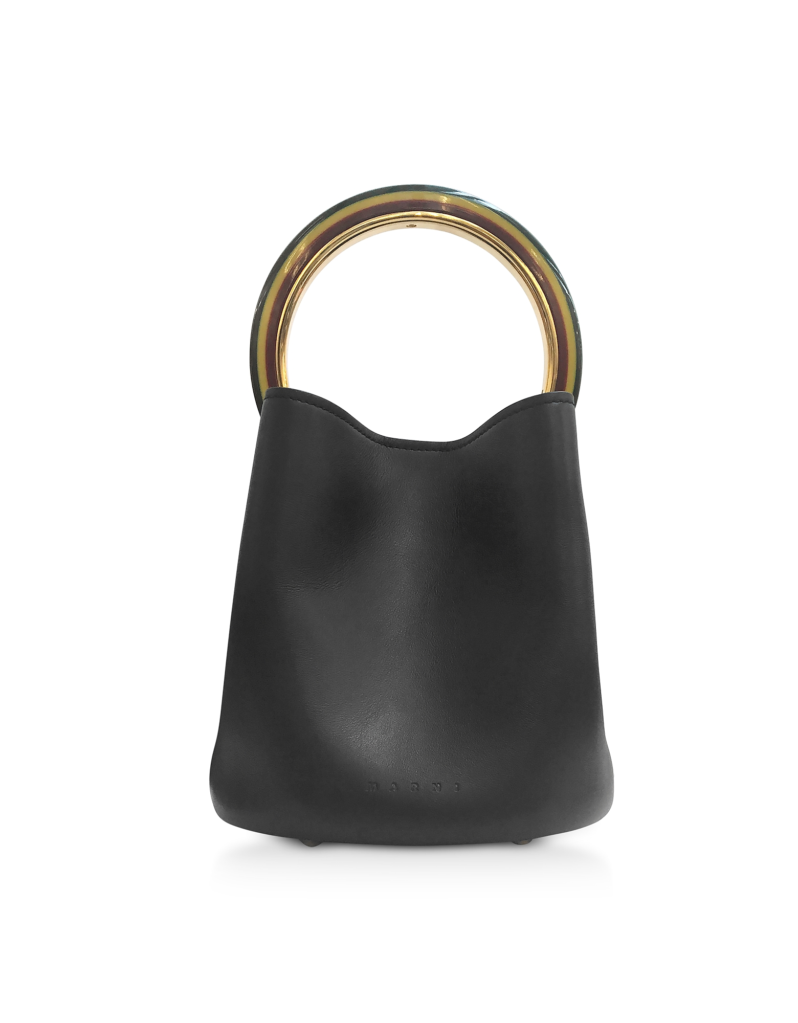 Marni Handbags, Genuine Leather Pannier Bucket Bag w/Resin Handle