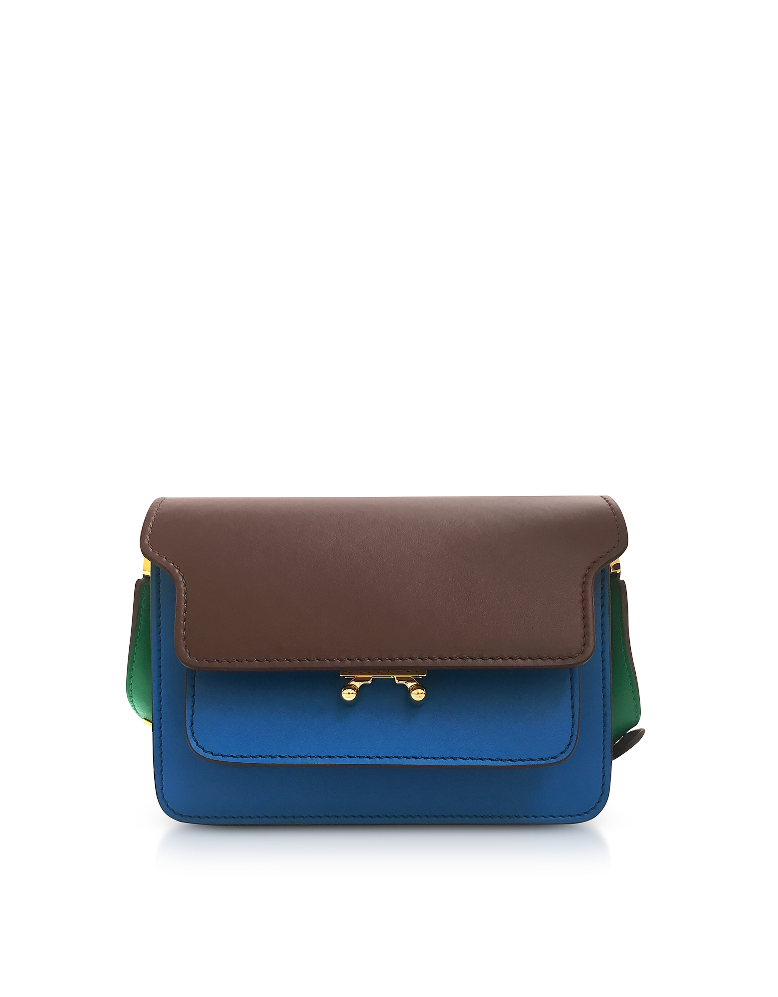 Color Block Leather Mini Trunk Bag. Mini Trunk Bag crafted in a trio of calf leather, takes the iconic Trunk bag and makes it a marvelous mini with a
