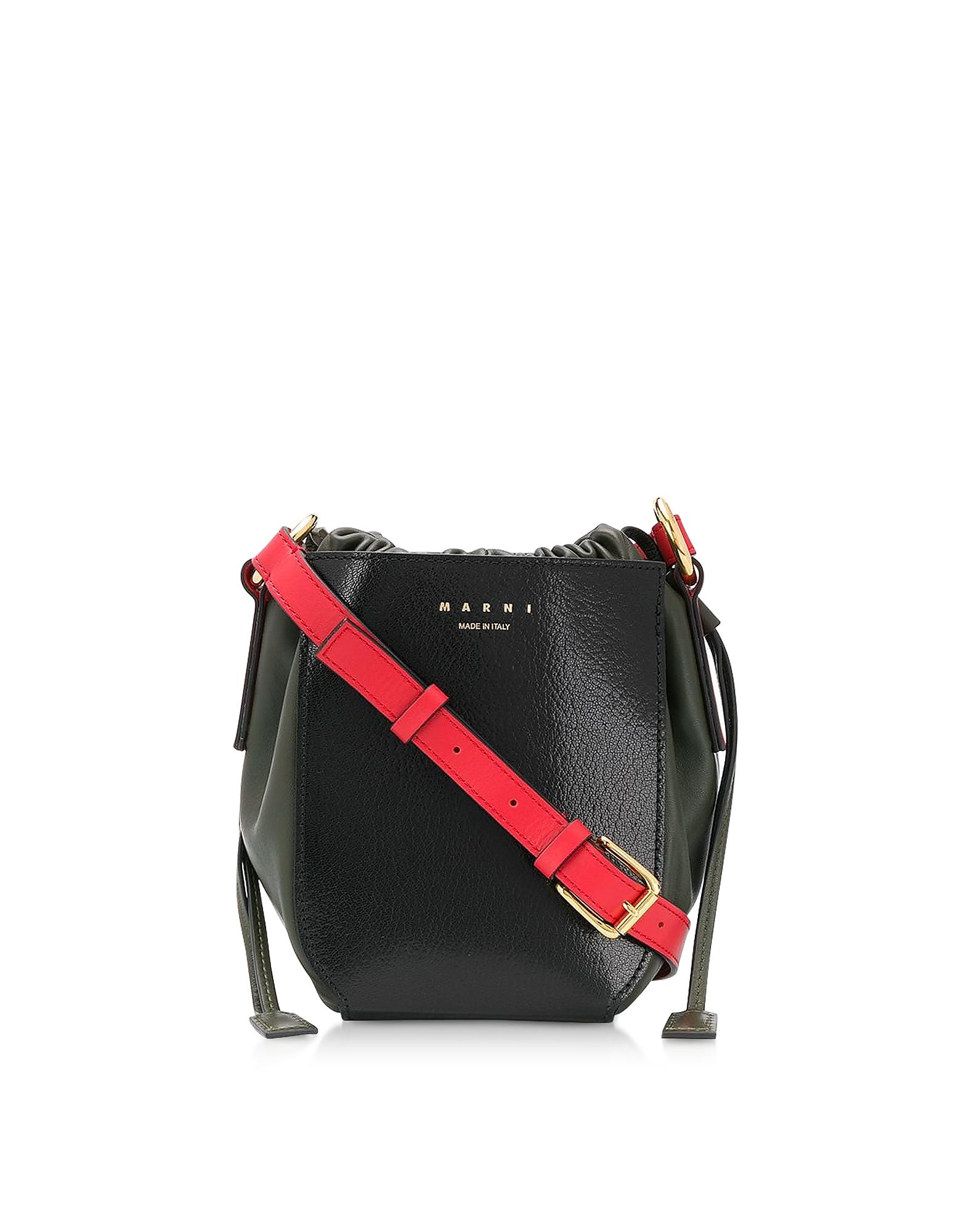 Marni Designer Handbags, Color Block Leather Shoulder Bag
