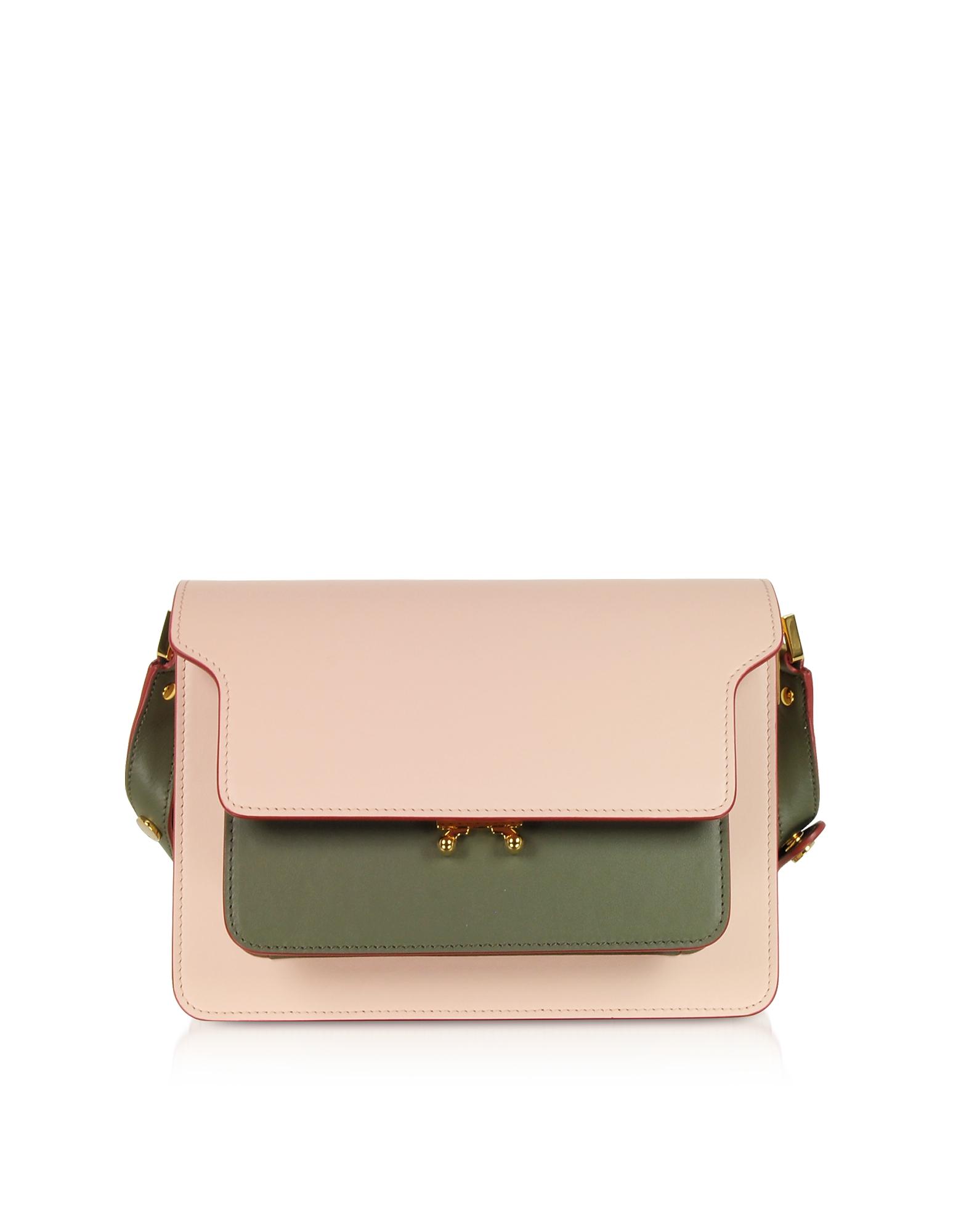 Marni Designer Handbags, Color Block Leather Mini Trunk Bag