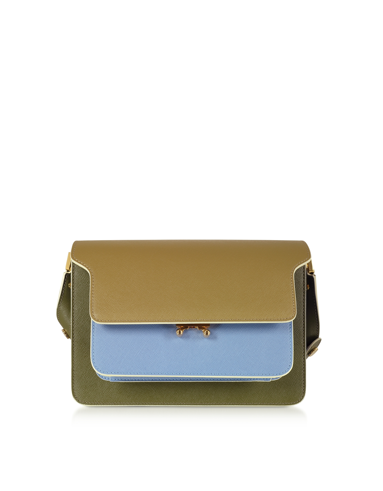 Marni Designer Handbags, Color Block Saffiano Leather Mini Trunk Bag