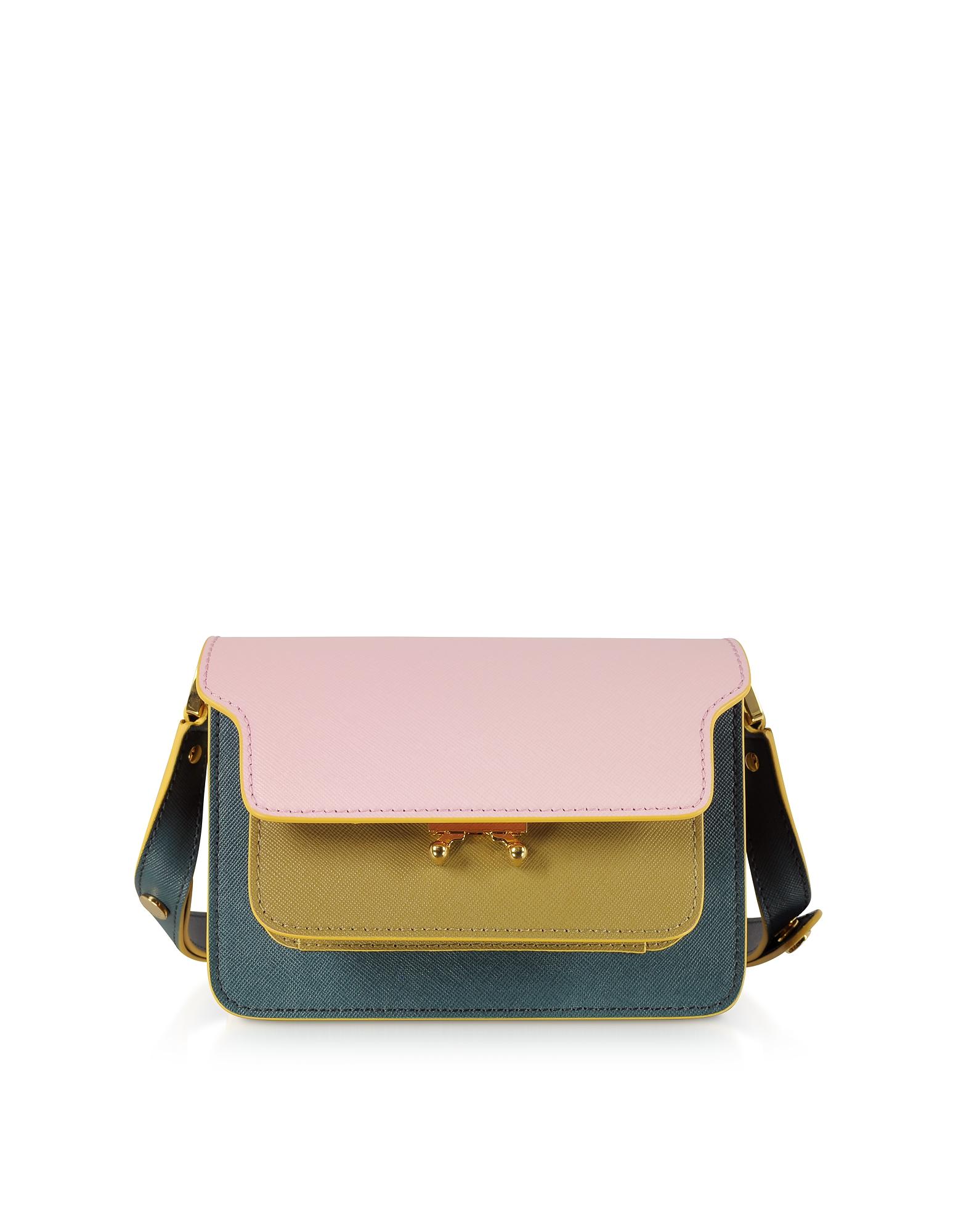 EAN 8050267612647 product image for Marni Designer Handbags, Color Block Saffiano Leather Micro Trunk Bag | upcitemdb.com