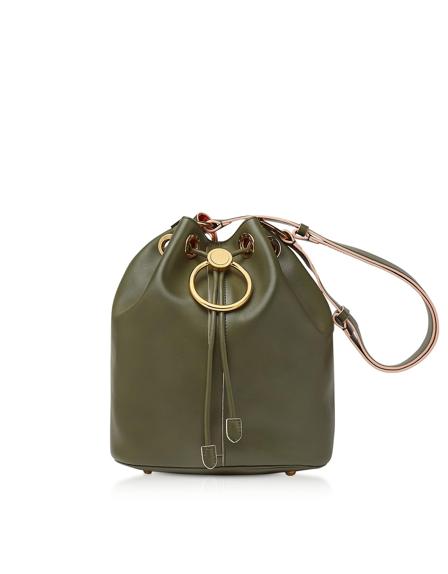Marni Designer Handbags, Earring Leather Drawstring Bucket bag