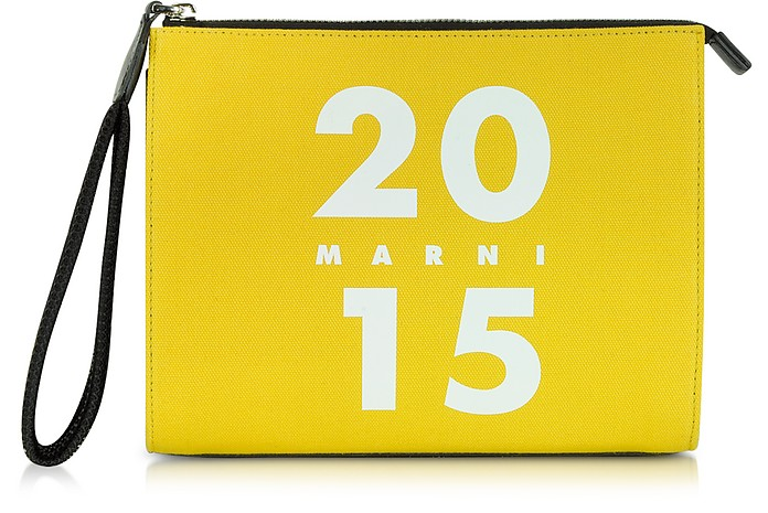 Canvas and Leather Clutch - Marni