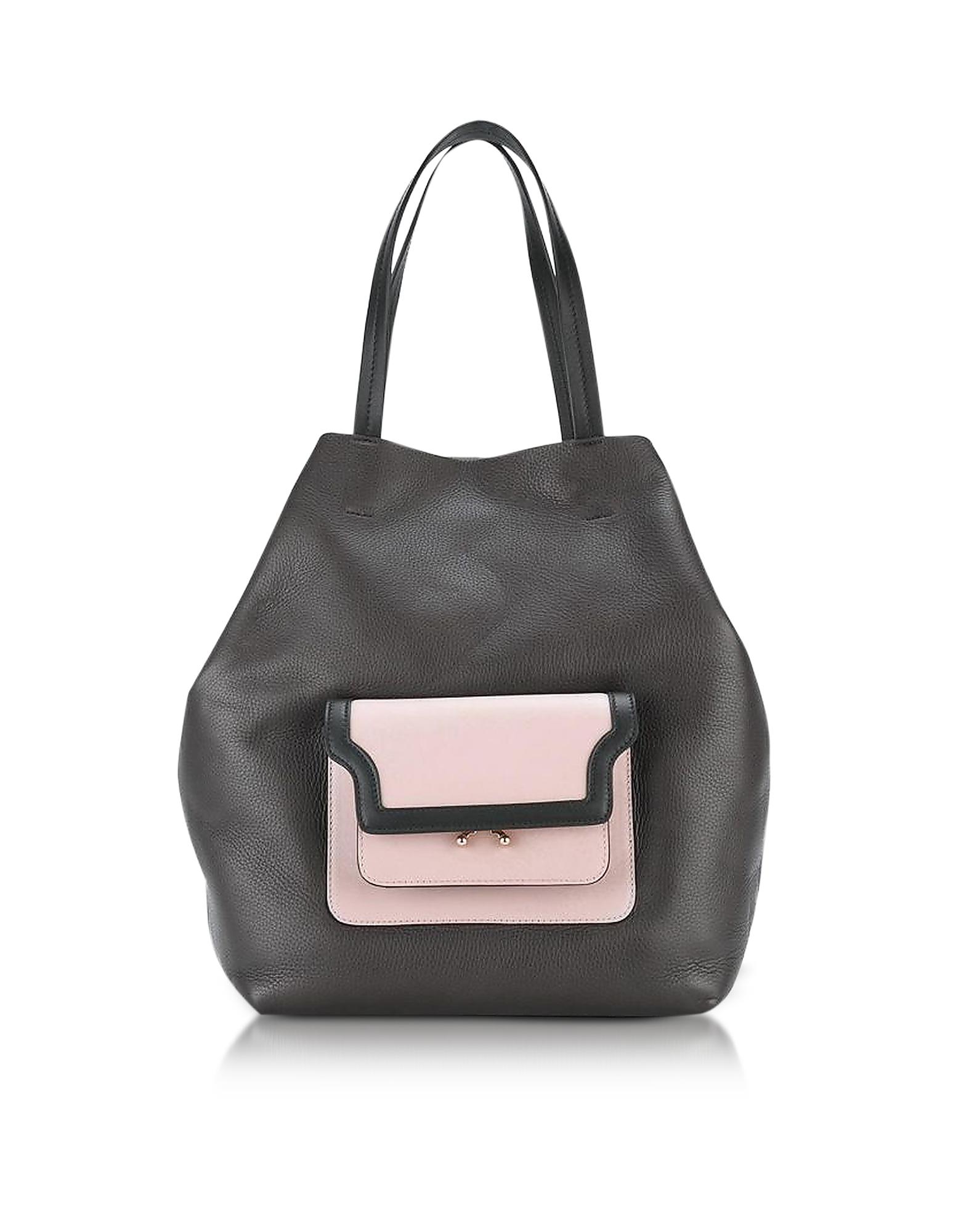 Marni Handbags, Dark Chocolate, Cement and Quartz Leather Hexagonal Trunk Bag