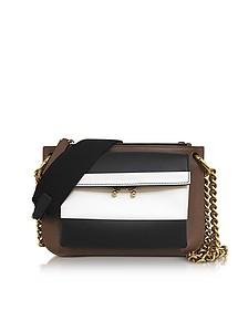 Gold, Brown, Black and Limestone Leather and Wool Leather Pocket Bandoleer Bag - Marni