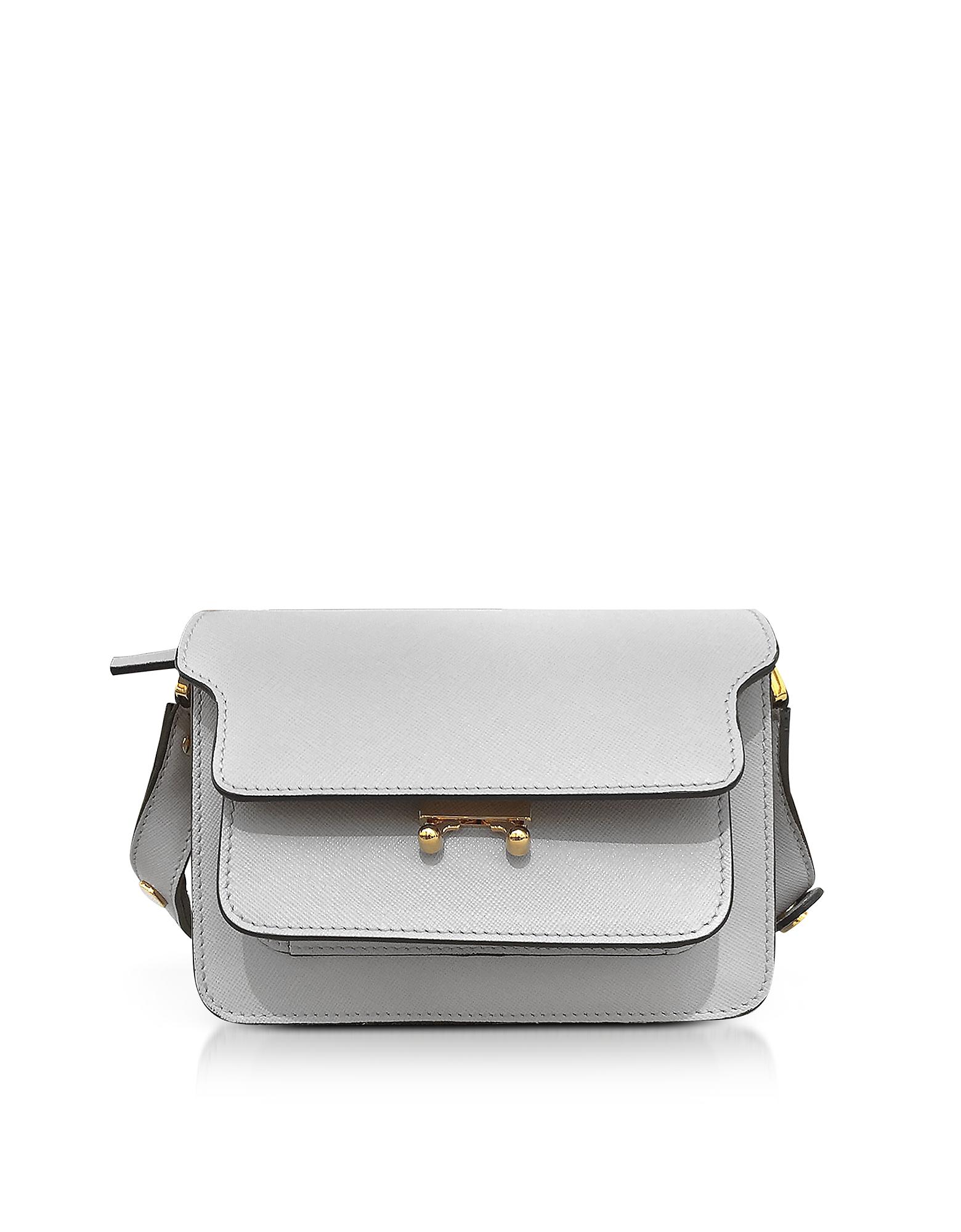 Marni Trunk Bag - Маленькая Сумка из Сафьяновой Кожи Оттенка Пеликан