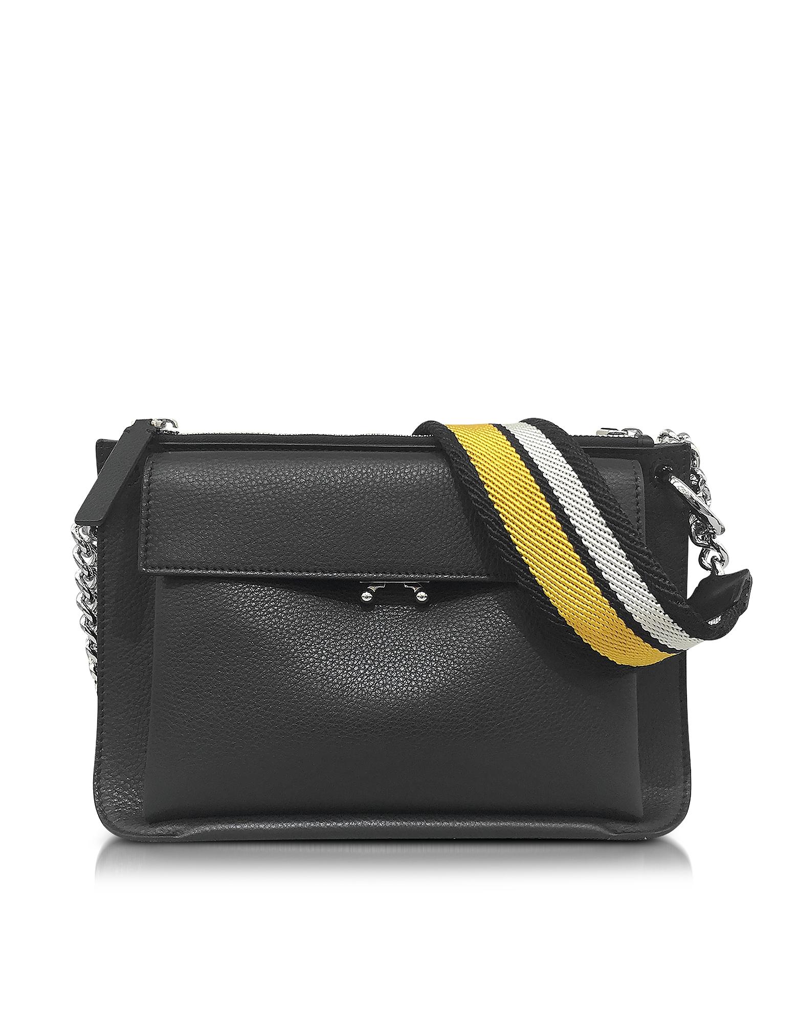 Фото Bandoleer Bag - Большая Черная Кожаная Сумка с Карманом. Купить с доставкой