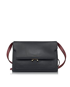 Black and Ruby Red Leather Trunk Shoulder Bag - Marni