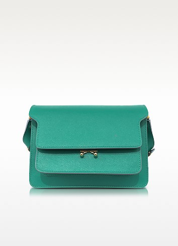 Sea Green Saffiano Leather Medium Trunk Bag - Marni