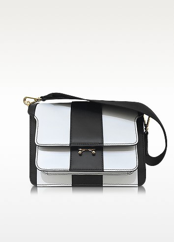 Lily White and Black Stripe Leather Medium Trung Bag - Marni
