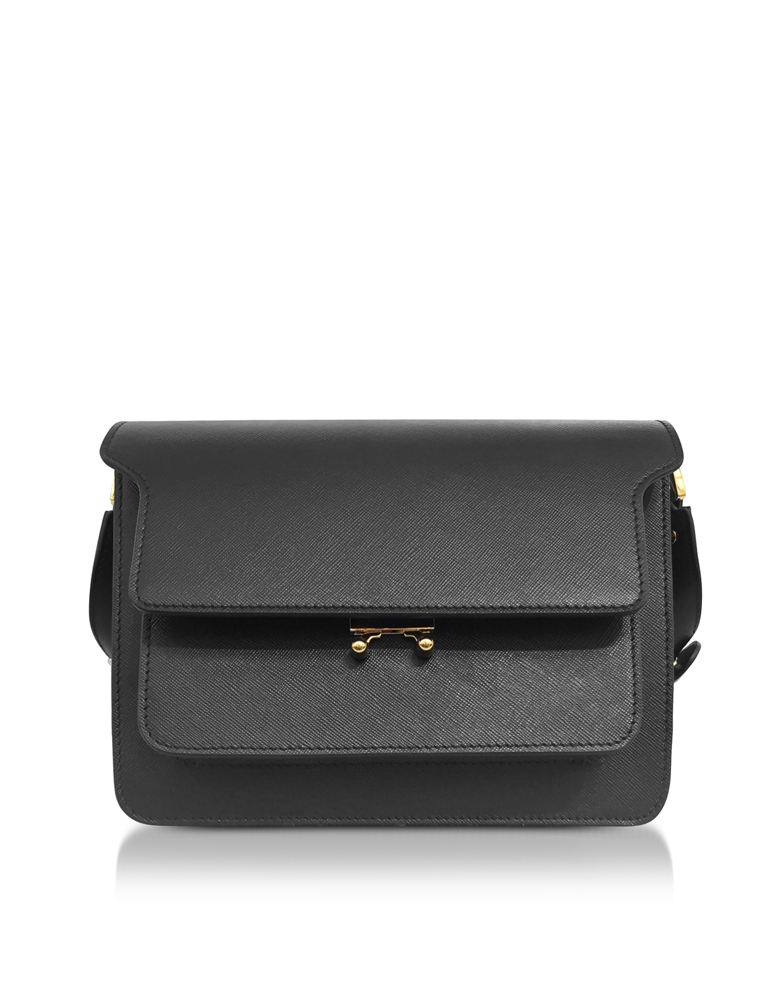 Black Saffiano Leather Trunk Bag