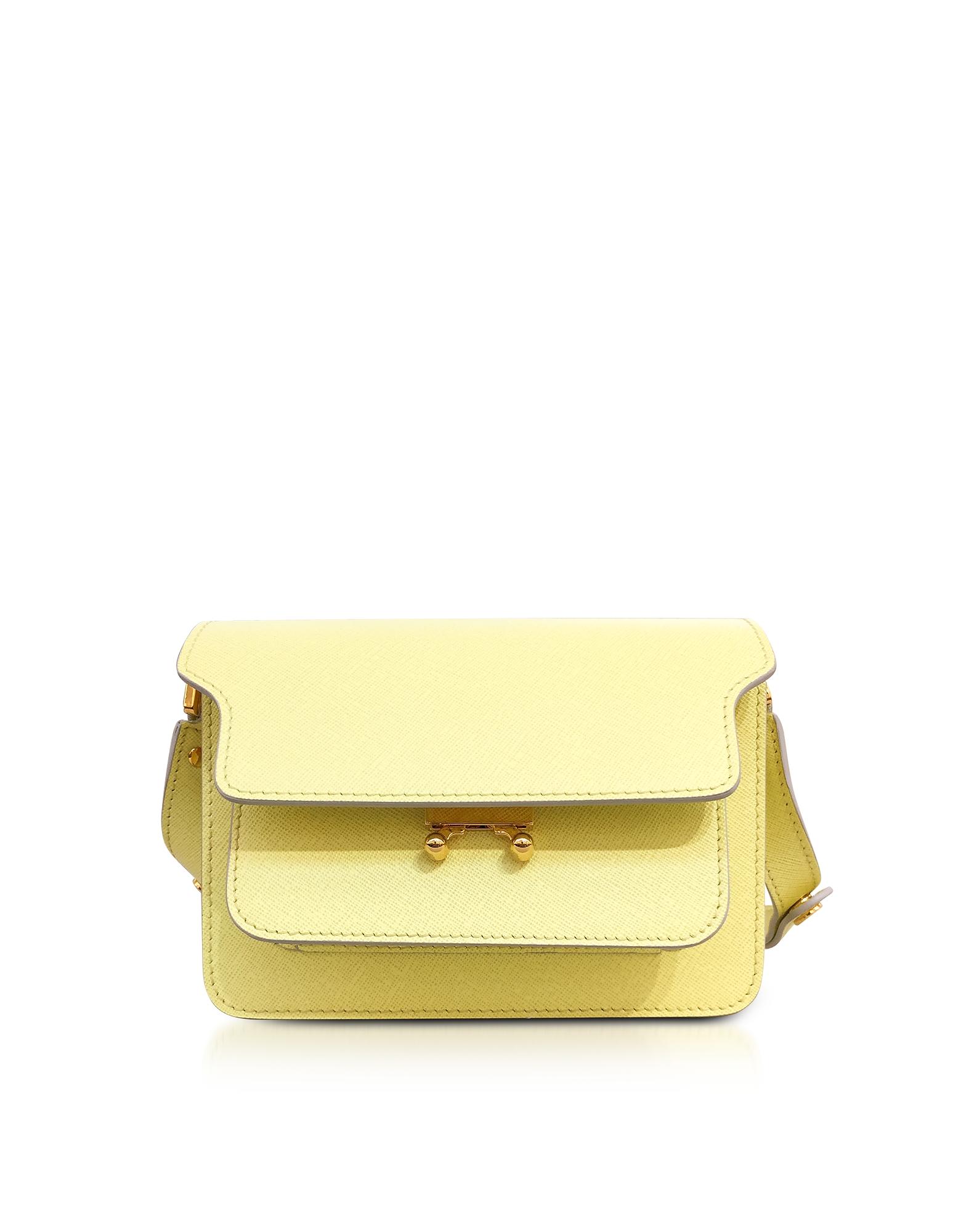 Marni Handbags, Vanilla Saffiano Leather Trunk Bag