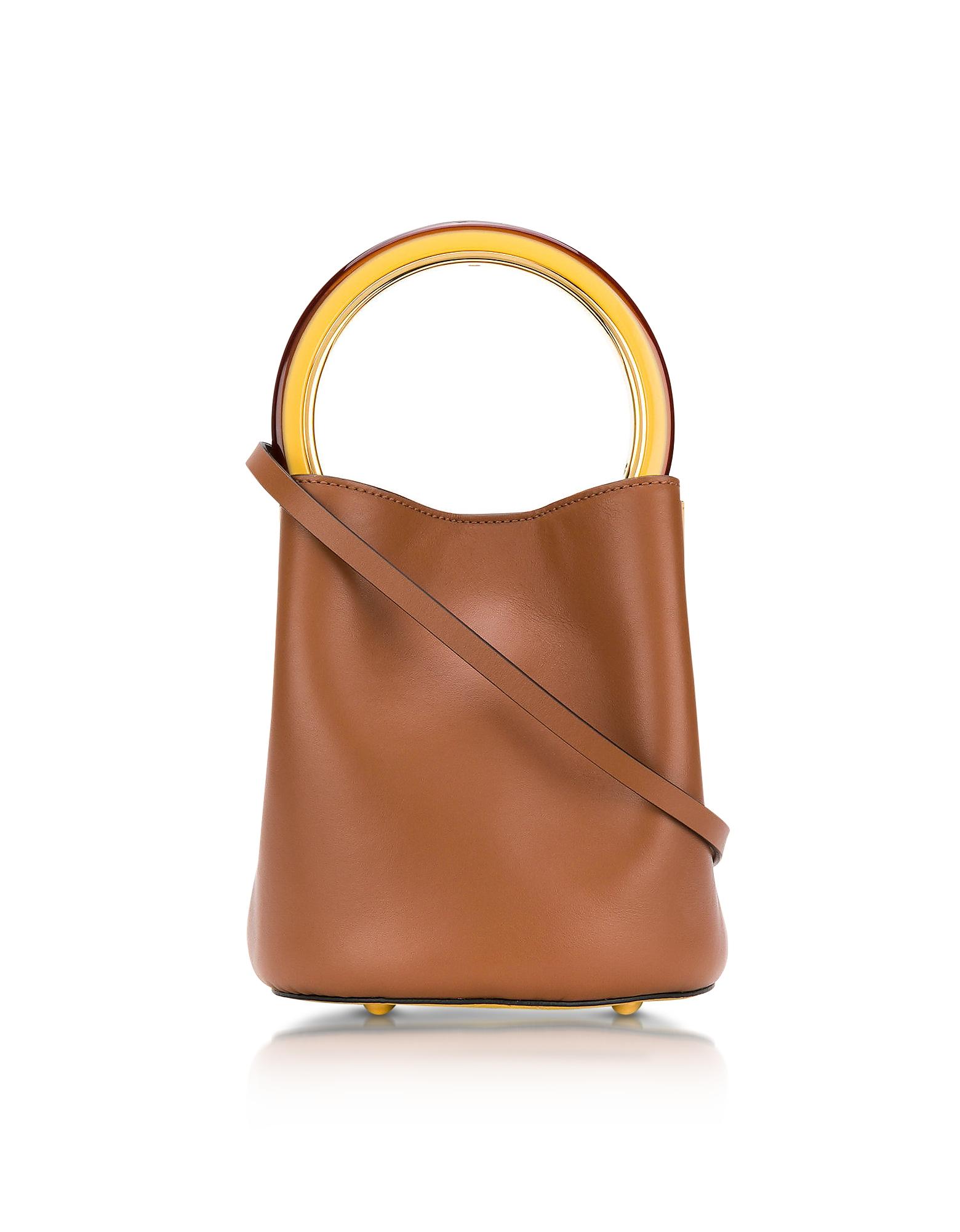 Marni Handbags, Maroon and Dark Lemon Leather Pannier Bucket Bag