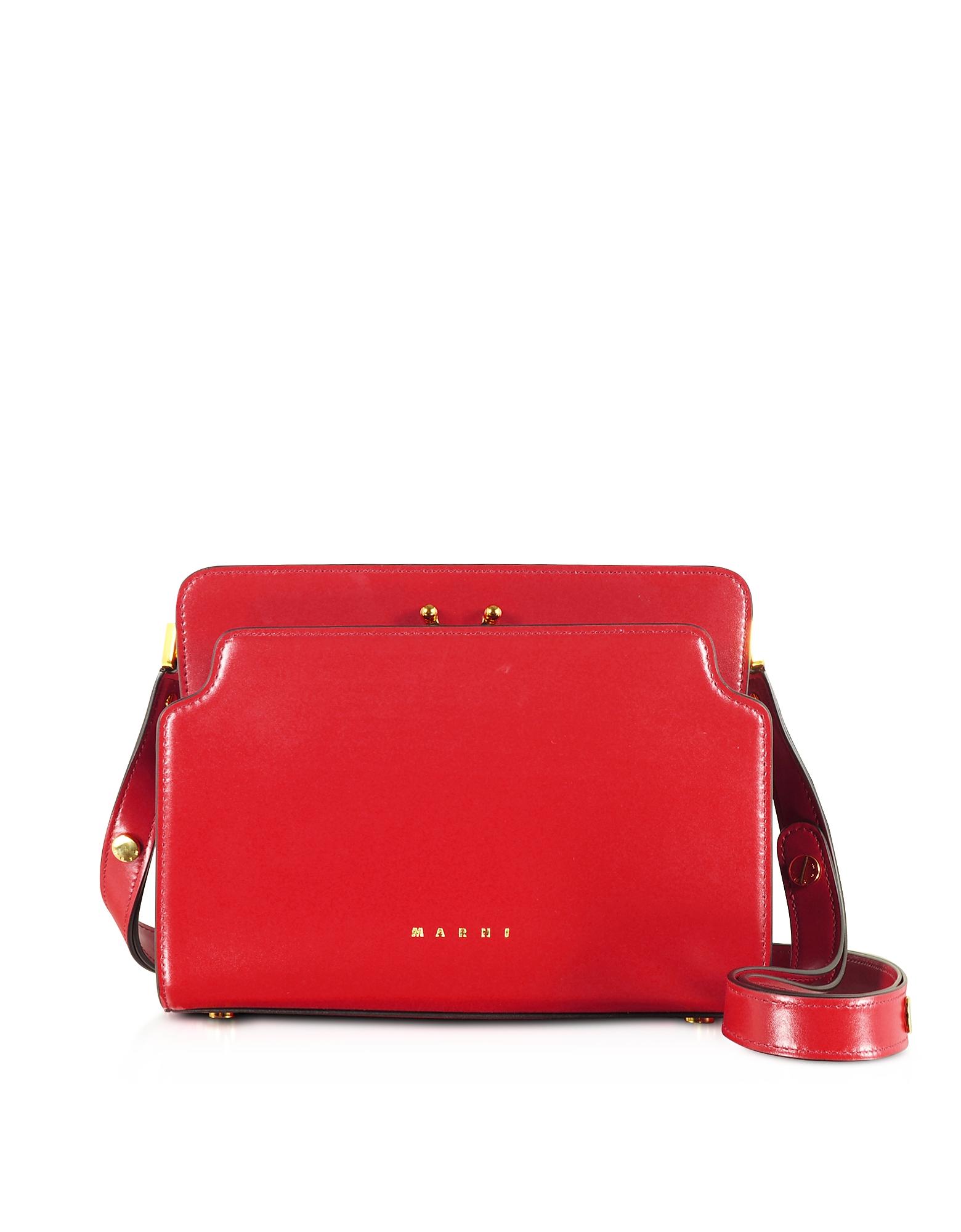 Marni Designer Handbags, Trunk Reverse Nappa Calf Leather Crossbody Bag