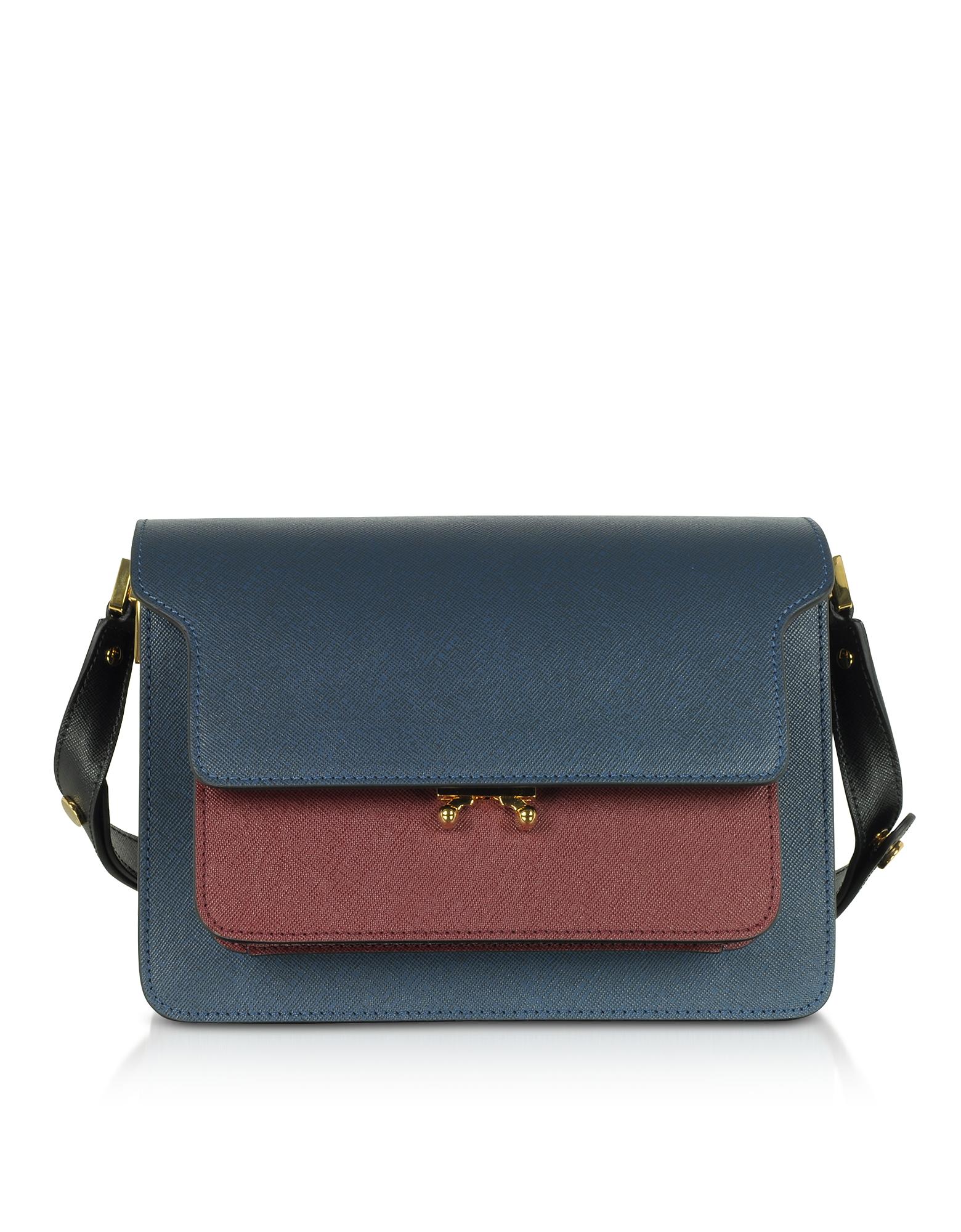 Marni Designer Handbags, Orion Blue, Black & Ruby Saffiano Calf Leather Trunk Bag