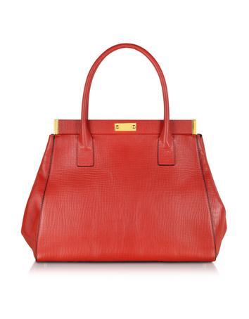 Deep Red Leather Handbag