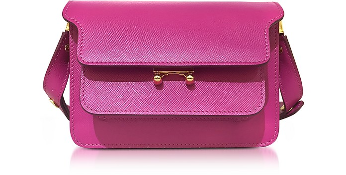 Cassis Saffiano Leather Mini Trunk Bag - Marni
