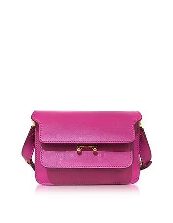 Cassis Saffiano Leather Mini Trunk Bag