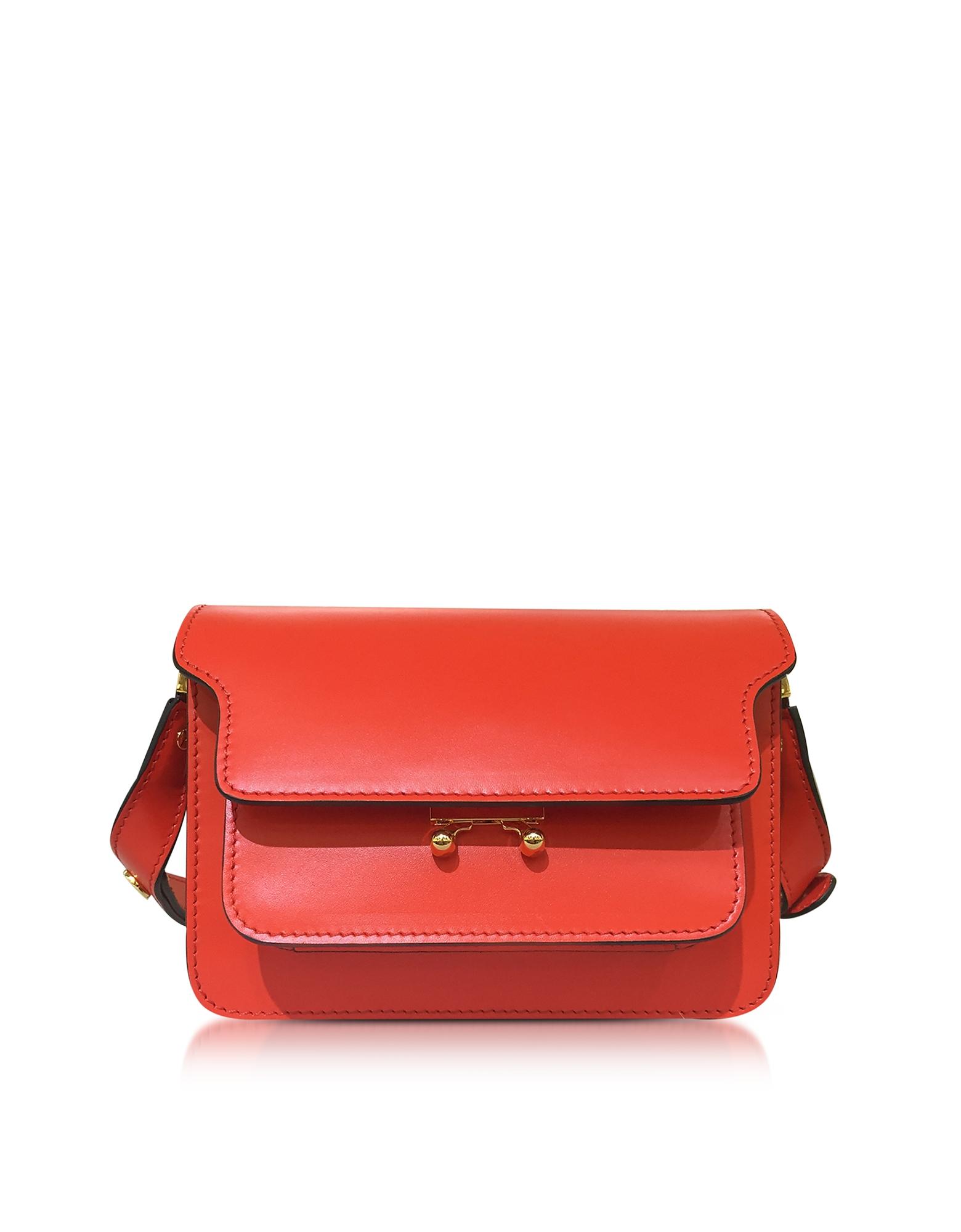 Фото Mini Trunk Bag - Маленькая Кожаная Сумка Ярко-Красного Цвета. Купить с доставкой