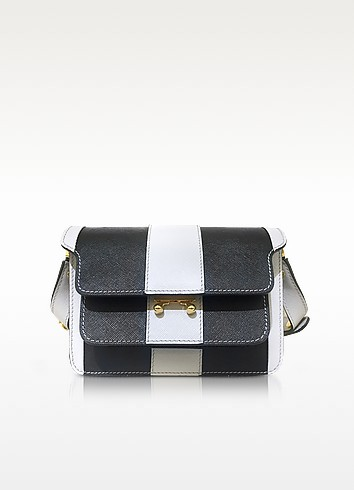 Pelican and Black Striped Saffiano Leather Mini Trunk Bag - Marni